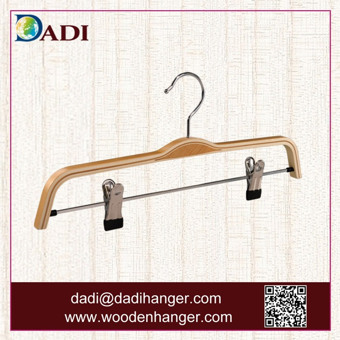 Laminated/ plywood coat and suit hanger with clamps