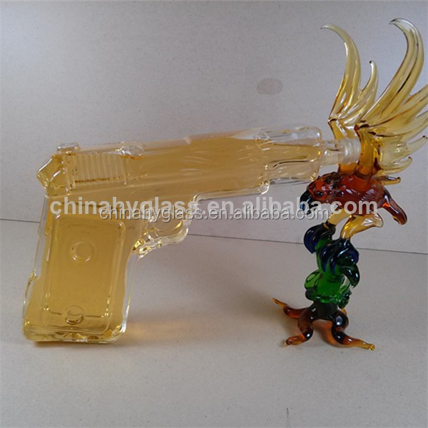 High Clear Gun Shaped Wine Glass Bottle / colored glass wine bottles / unique shaped glass bottles