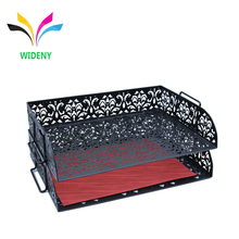 hollow pattern office desk metal letter document tray