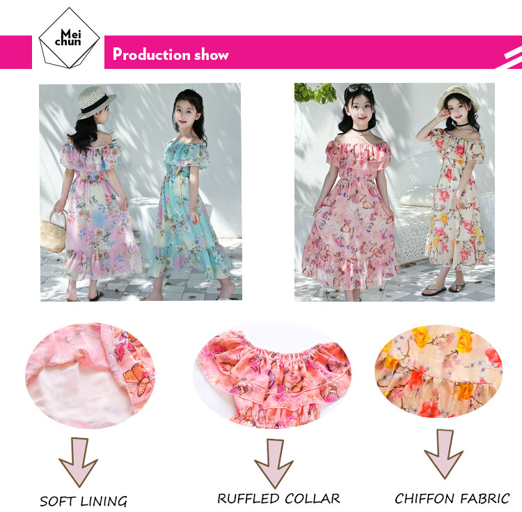 2019 bohemian style chiffon fabric girl's long toddler summer dress