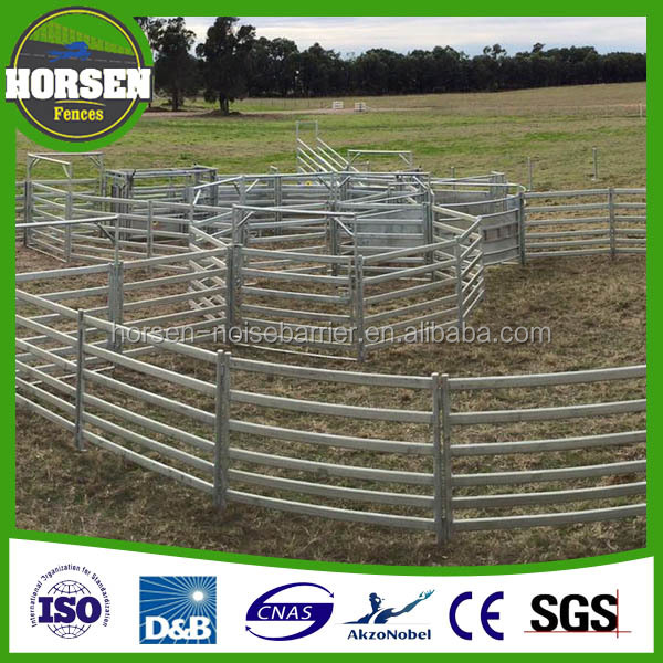 New Zleand hot-dip galvanized cattle / horse / sheep farm yard panel , corral yard fence with gate