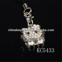 Diamond Paved Floating Lovely Cat Key Chain