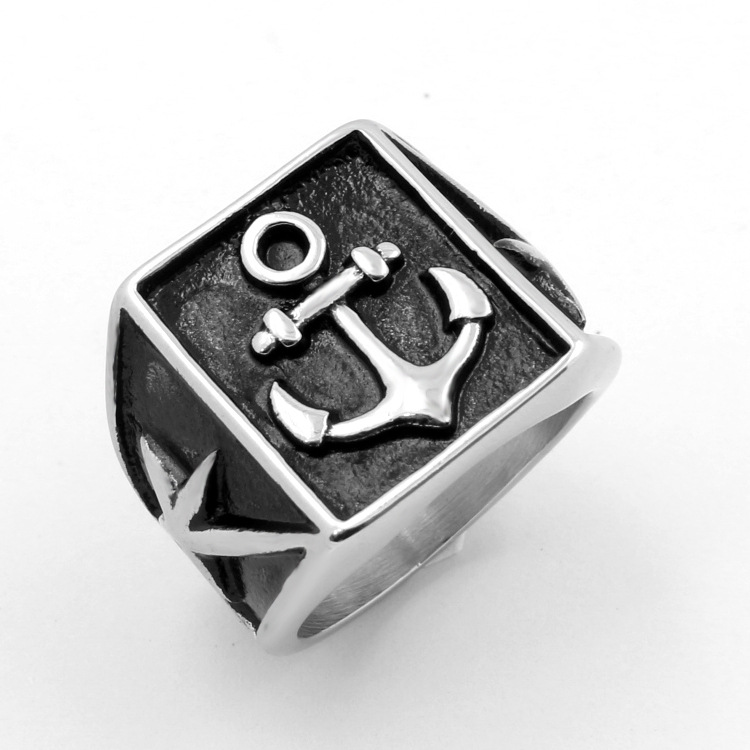 Korean version of fashion, the anchor titanium steel ring, hipster punk anchor ring YSS734