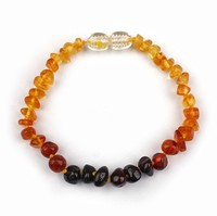 Natural gemstone Baltic amber stone polished tumbled chips Beads stretch bracelets