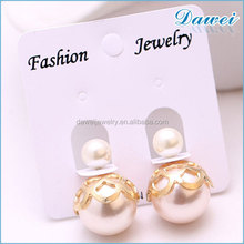 2015 New Design Fashion Style Rose Gold Plated Double Sided Pearl Earring
