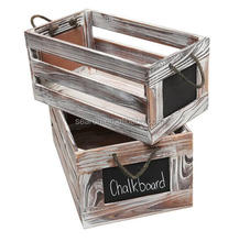 Distressed Torched Wood Finish Nesting Boxes / Rustic Storage Crates with Chalkboard Labels