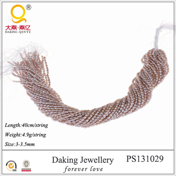fashion jewelry alibaba 3-3.5mm rice shape fresh water pearl strands
