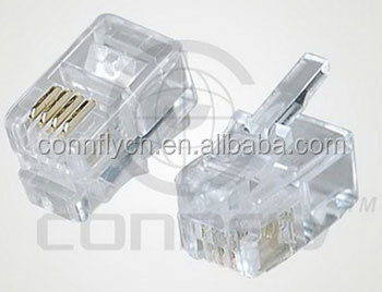 Top quality 1.02mm round type male 4p4c rj11 connector