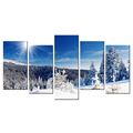 Sunny Winter Canvas Prints Pine Tree Picture Canvas Printing Snow-covered Landscape Canvas Painting Wholesale Multi-Panel