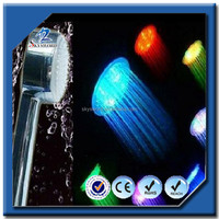 Bathroom or kitchen lighted up by colorful led shower lights