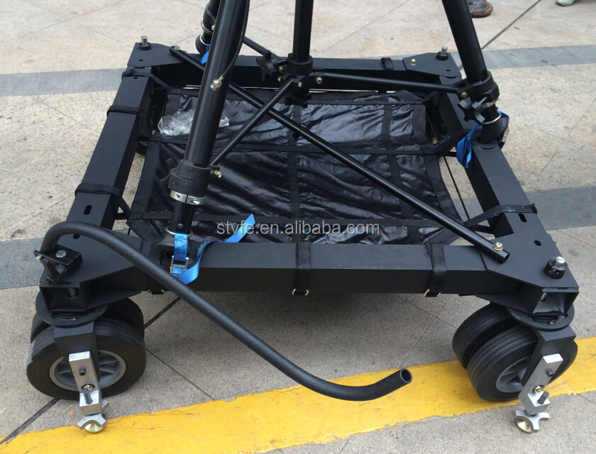 Professional Andy - jib camera crane pan tilt motorized head 4 wheel dolly system
