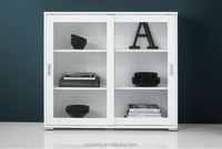Modern white corner display cabinet with Glass sliding door design