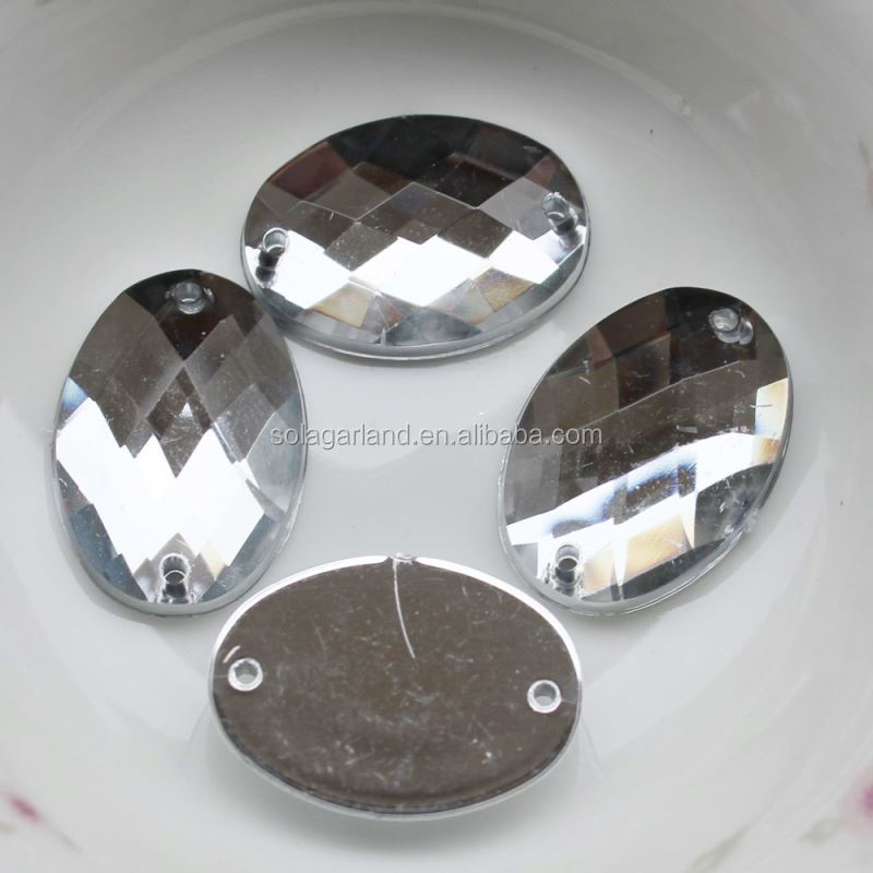 Many of 15*21mm Clear Silver Plastic Acrylic Almound Cut Oval Chain Mirror Crystal Bead Charm for Party Decoration