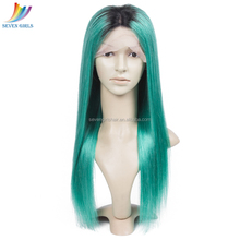 Sevengirls Wholesale 9A Grade Virgin Peruvian Human Hair 1B Light Green Ombre Color Full Lace Wig With Natural Hairline