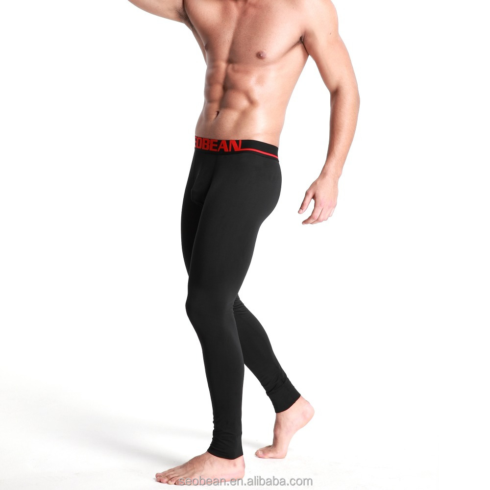 Men wholesale heated thermal underwear thick long johns men solid color long john pants