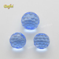 Wholesale 14mm Round Football Facted Synthetic Aquamarine Glass Beads