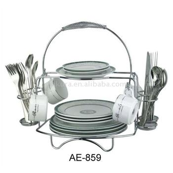 CHROME PLATED WIRE UTENSIL HOLDER