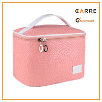 crocodile print leather girl pink cosmetic case bag with handle