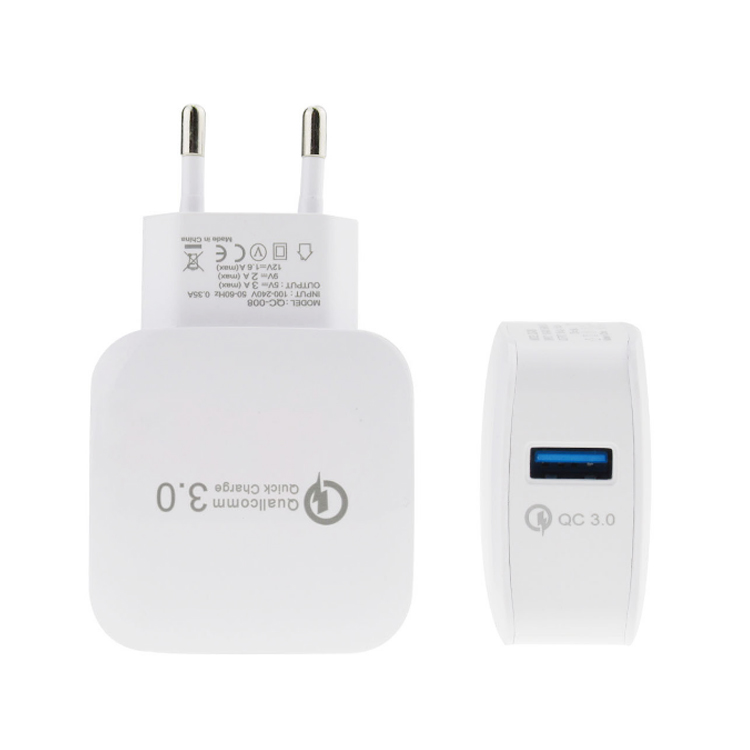 Manufacturer Supplier Quick Charge 3.0 18W USB Charger Smart Fast QC3.0 Wall Travel Charger