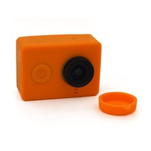 New Soft Rubber Silicon Housing Cover Protective Case + Lens Cap For Xiaomi yi xiaoyi Camera Eight kinds of color can choose