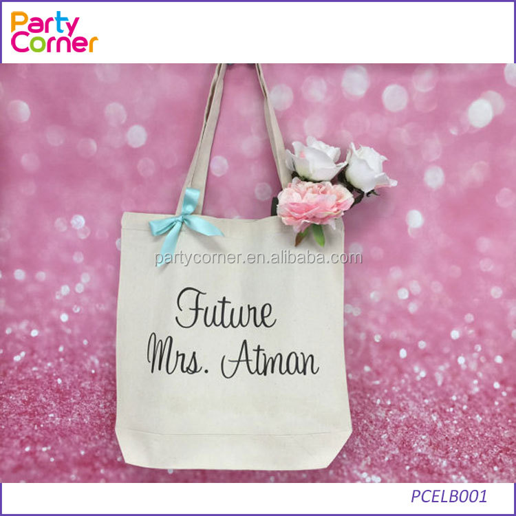 White Wedding Favour Tote Bags personalised bridesmaid hen party <strong>gift</strong>