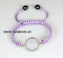 HOT SELLING Circle shape charm simple shamballa bracelet with PURPLE STRING
