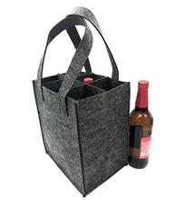 Wine Bottle Carriers Tote felt Bag Reusable Washable with Removable Divider Feltbag for 6 Bottles