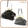 2016 China factory women leather fashion handbag purse kisslock shoulder bag feather purse for lady