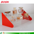 Transparents Acrylic Cosmetic DIsplay Stand with 2 Sides Coloured Panels