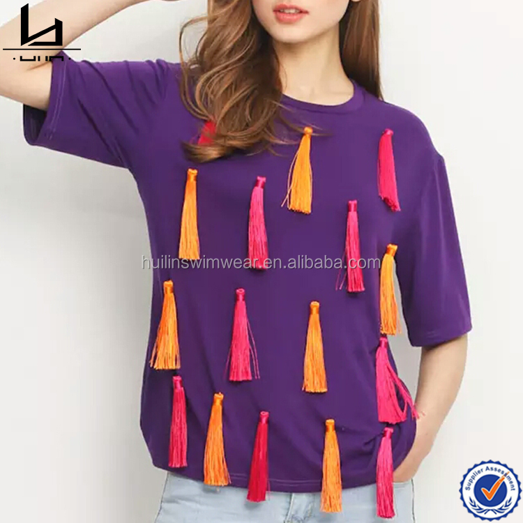 Tassels front fashionable women cotton tee shirt technic cheap custom t-shirt