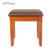 American countryside living room solid wood and PU leather square piano bench chair footstool sofa dressing stool ottoman