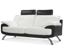 Simple Style Room Sofa, Modern Design Leather Sofa, White -black with metal leg set