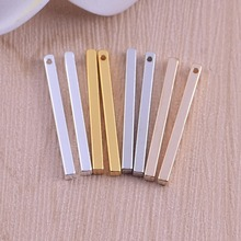Wholesale Silver/ Gold Color Stamping Bar Stamping Blank charms long square bar Pendant Charms for Necklace handmade DIY jewelry