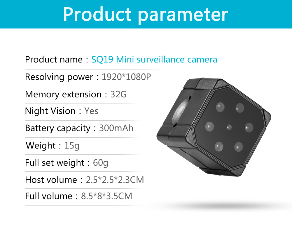 SQ19 Portable 1080P Infrared Monitor Concealed Video Voice Camera For Night Vision PK SQ11 SQ16