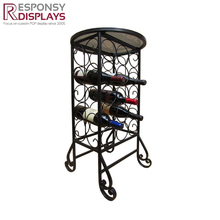 Wholesale Floor Iron Liquor Rack Furniture Decor Metal Wine Bottle Display Stand