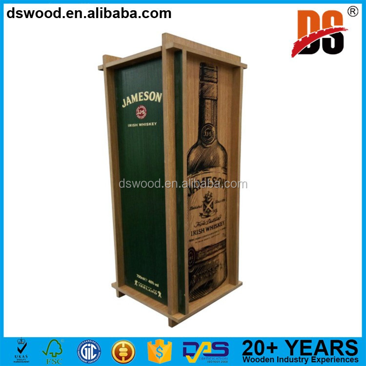 MDF material foldable single bottle gift packaging box bulk wooden boxes