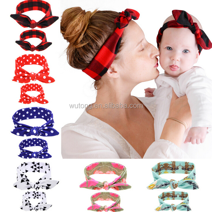 2Pc/Set Mother & Baby Girl Rabbit Ears Headband Plaid Bow Hairband Turban Knot Headwrap mom and me <strong>Hair</strong> Band <strong>Accessories</strong>