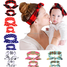 2Pc/Set Mother & Baby Girl Rabbit Ears Headband Plaid Bow Hairband Turban Knot Headwrap mom and me Hair Band Accessories