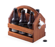 wholesale china factory BSCI Solid Wood Beer Caddy With Bottle Opener