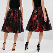 Women wear clothing tulle pleated rose print midi tutu skirts for adult