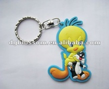 Custom 2D/3D Soft PVC duck shaped key chain for promotion