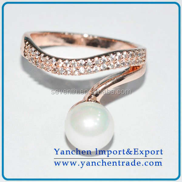 18k Rose Gold Filled Ring with Big Pearl and Zircon Stones Desings Prong Setting For Men