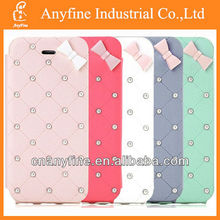 Hot sale Bow Bowknot Pearl Leather Flip Case Cover for iPhone 4/4S/5 Galaxy S3/S4/Note 2