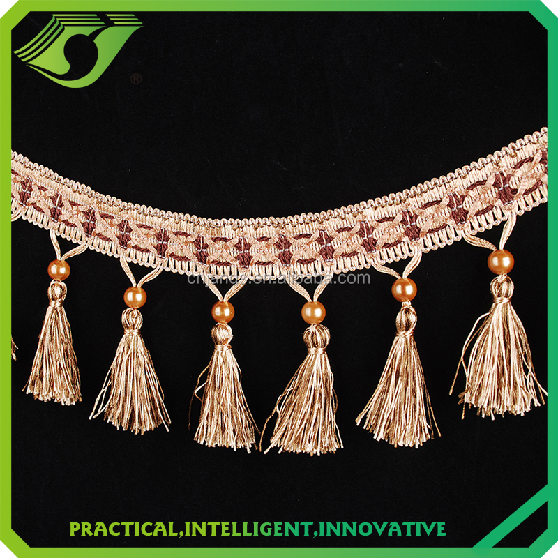 High quality curtain lace,Fashion Furniture Bead Fringe Trimming