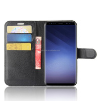 Top Selling Soft Flip Lichee Leather Case For Samsung S9 Wallet Card Holder