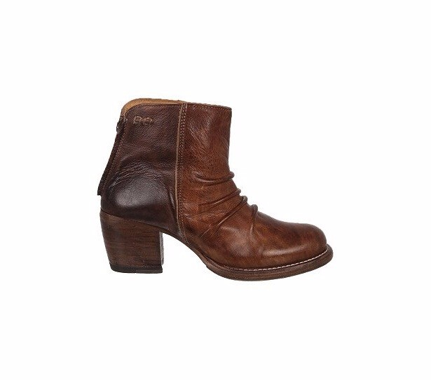 000054-1wood leather stacked heel high quality genuine leather ankle <strong>boots</strong>