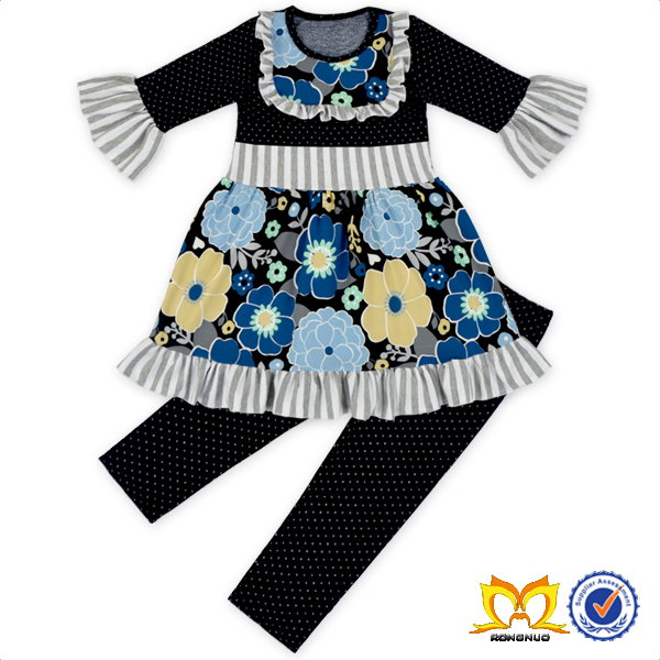 Girls Black Floral Dress And Polka Dots Leggings Baby Boutique Outfits Bohemian Clothing
