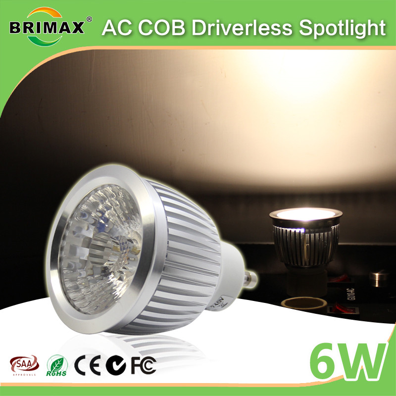 popular fashion GU10 led COB spotlight dimmable 3000k 4000k 120V 210V GU10 led spotlight 6W