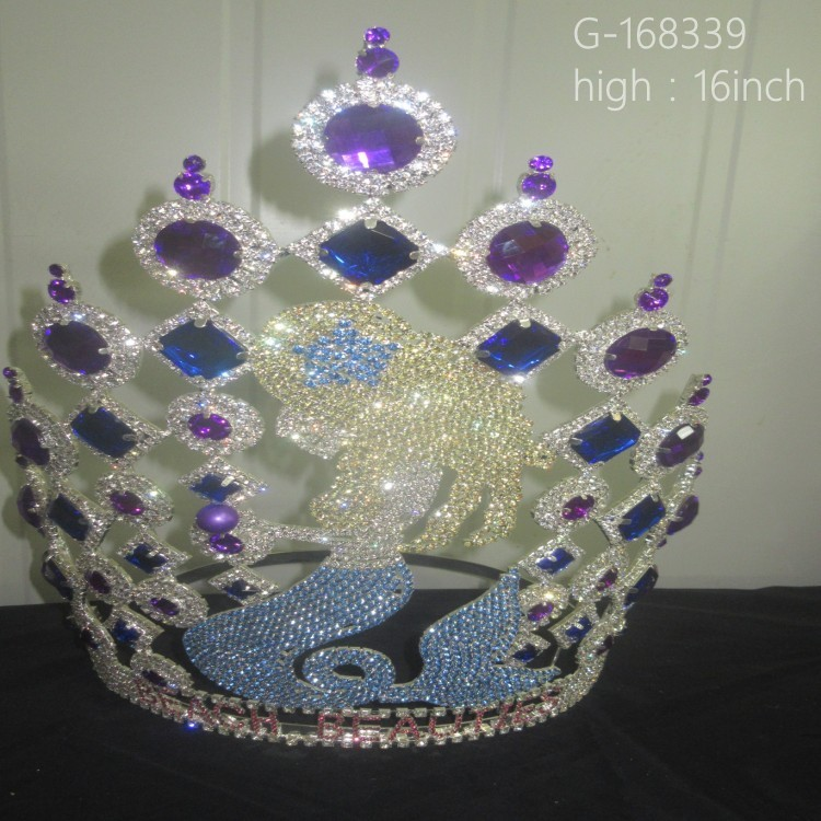 Wholesale 16inch Tall Crystal Horse Crowns Pageant Crowns tiara head crown