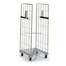 RH-RC001 820*710*1750mm two sides roll container with belt movalbe wire mesh steel container cart